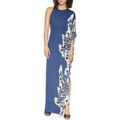 Halston Heritage Printed One-Sleeve Maxi Dress ($495) ❤ liked on Polyvore featuring dresses, blue dress, halston heritage, halston heritage dress, maxi dresses and off one shoulder dress