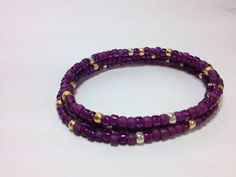Memory wire bracelet in purple and goldLSU by GingerandNoise, $10.00