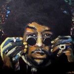 """Jimi is a finger painting. This painting is 18""""x 24"""" acrylic on canvas."""