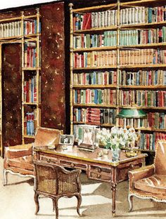 Cole Porter's Waldorf Towers library (New York); interior design by Billy Baldwin, watercolor by Mark Hampton