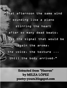 """Extract from the poem """"Heaven"""" in book """"Heaven"""" by Milza López #Heaven #Kindle #Amazon #ebook #poetry #poem #quote #book"""