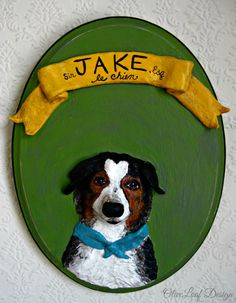Custom Pets on Plaques® Paper Mache Dog Art Dog by OliveLoafDesign