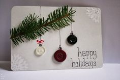 These button ornament cards. | 23 DIY Christmas Cards You Can Make In Under An Hour