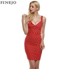 FINEJO Vintage Sexy Women Dress lady Elegant Deep V-Neck Sleeveless red  Polka Dot Slim Bodycon party mini Dress plus size S-XXL 8a1bd8e5ec61