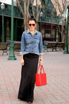 black maxi skirt, heart print shirt, denim jacket, red bag