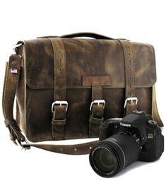 "15"" Distressed Tan Sonoma Buckhorn Leather Camera Bag - $192"