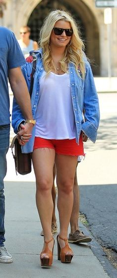 cute layered with red shorts