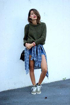 Sweater - Zara / Short - Primark / Chemise - Friperie Episode Paris / Chaussures - Nike Blazer / Sac - Jerome Dreyfuss Igor