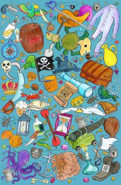 Pirate Party Pattern by Emily Trotter Illustration