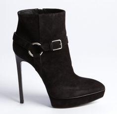 SAINT LAURENT Black Suede Harness Detailed Pointed Toe Platform Heel Booties