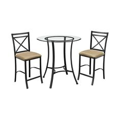 Dress up your breakfast nook or eat-in dining area with the Dorel Living Valerie 3-Piece Counter Height Glass and Metal Dining Set. This smaller set is big on style and convenience and includes one counter height table and two matching counter height dining chairs. The black metal table base supports a beveled-edge round glass table top. The table legs fan out at the bottom, mimicking the chair silhouette and giving it a refined look. The coordinating chairs feature an elegant cross back…