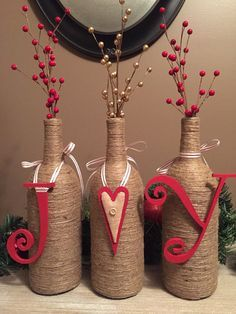 JOY Wine Bottle Decor by ChrissyLynnCreations on Etsy