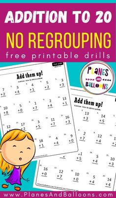 Addition to 20 without regrouping for first grade - free printable worksheets. #firstgrade #planesandballoons First Grade Math Worksheets, Kindergarten Worksheets, Free Printable Worksheets, Free Printables, Fun Learning, Teaching Kids, Math Drills, How To Teach Kids, Number Activities