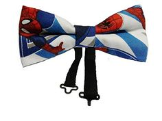 Spiderman Pretied Bow Tie Cotton, Adult. This bow tie has the logo of the superhero Spiderman. It is double layered and is for males and females. Measurement is 4.5 x 2.5 inches and is adjustable up to 18 inches. Recommended ages are 12 to adult. This pre-tied cotton bow tie has been meticulously handcrafted and is double layered. Ties are great for every day wear as well as on special occasions. Also, great for casual Fridays. Handcrafted in the USA. Equipped with a clip that you just…