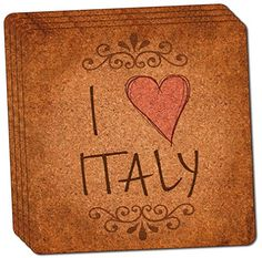 Custom  Cool 4 Inches Set Pack of 4 Square Grip Texture Drink Cup Coasters Made of Cork w Rustic Vintage Style I Heart Love Italy Europe Souvenir Design Colorful Tan Black  Red * This is an Amazon Affiliate link. Learn more by visiting the image link.