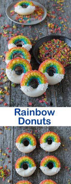 Rainbow Donuts - these fun donuts are made using fruity pebbles, white chocolate and shredded coconut!