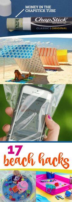 17 Beach Hacks, Great Ideas To Start Your Summer Beach Trips Off Right! 17 Strand-Hacks, großartige Ideen pro Ihren Sommerurlaub am Strand! Beach Camping, Beach Fun, Beach Trip, Beach Vacations, Beach Ideas, Camping Tips, Hawaii Beach, Oahu Hawaii, Vacation Places
