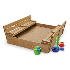 "Covered Two Bench Cedar Sandbox - Badger Basket Toys - Toys ""R"" Us"