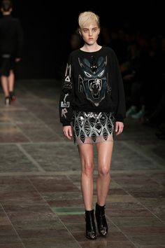 Anne Sofie Madsen - Copenhagen Fashion Week 2013 - Graphic monster sweater paired with a sheer fabric mini skirt with metallic prints