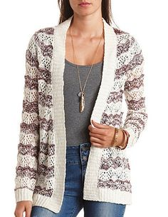 Marled Stripes Open Knit Cardigan Sweater: Charlotte Russe