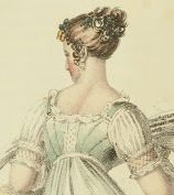 Pale blue gown with decoration on back of bodice. Ackermann 1813.