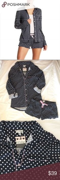 NWT PJ Salvage Polkadot Short Set Pajamas , Sz2 NWT Adorable P.J. Salvage Two Piece Polka Dot Pajama Short Set is cute and feminine in luxuriously soft cotton jersey. Smoke (washed grey/Black) with white polka dots and feminine pink trim on the placket and pocket. Pajama top has spread collar, front button closure with pink trim and pink buttons, roll-tab sleeves with pink buttons, and front patch pocket with pink trim.  Ruffled shorts have drawstring waist with pink grosgrain ribbon. 55%…