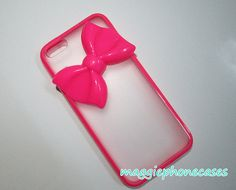 hot pink bowknow iphone 5c cases, rubber frame clear case for iphone 5c on Etsy, $9.99