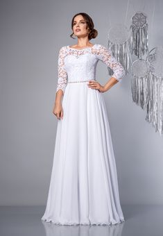 91e175e748 Angel - suknia ślubna z rękawami i muślinową spódnicą. Wedding dress with  long sleeves and