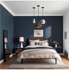 Maybe I'll paint the other wall blue in my room too - Schlafzimmer Dunkelblau - . Maybe I'll paint the other wall blue in my room too - Schlafzimmer Dunkelblau - Bedroom Colors, Home Decor Bedroom, Bedroom Ideas, Bedroom Furniture, Dark Blue Bedroom Walls, Dark Walls, Dark Blue Bedrooms, Classic Bedroom Decor, Bedroom Designs