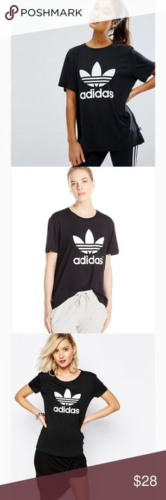Adidas black trefoil tee NWT NWT Adidas Originals black boyfriend trefoil tee with white Adidas logo size M and L available & purchased at Pacsun. Has both the Pacsun & Adidas NWT on it. Has a little bit of an oversized fit but you can also size up if you want more of a baggy tunic style fit. Last 4 images of the actual item for sale. Price FIRM on this particular item because I paid full price. Feel free to make any reasonable offers using the Offer button and plz don't haggle in the…