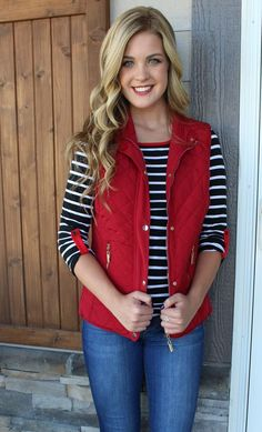 This red quilted vest with cinched back pulls double duty: perfect as a layering piece for fall AND a great choice to show your team spirit on game day! Red is such a fun color for fall and pairs so w