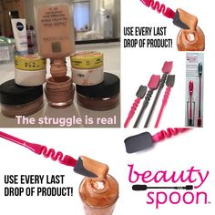 "Yes the struggle is real!  We've all been there trying to get the very last drop out of foundations, creams etc Now with Beauty Spoon you'll Never throw away money again!  These reusable flex stem beauty tools allow you to retrieve all the liquid located along the sides and bottom of your product bottles and containers. The 2-pack Beauty Spoon set contains a 7"" and 10"" flexible spatula spoon tool that, together, can be used on almost any sized container. Buy here…"