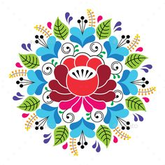 Russian Inspired Folk Art Pattern - Colorful Floral Composition by RedKoala Retro flowers design, traditional folk round background from RussiaFEATURES: 100 Vector Shapes All groups have names All elements Hungarian Embroidery, Folk Embroidery, Vintage Embroidery, Embroidery Patterns, Indian Embroidery, Embroidery Stitches, Folk Art Flowers, Retro Flowers, Flower Art
