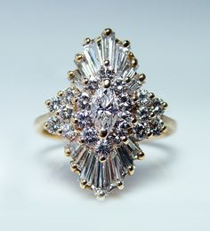 Vintage 2.30ct Marquise Baguette Diamond Ballerina Ring 14k Gold Estate Jewelry