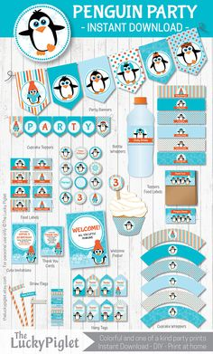 Penguin party Invitation and decoration for a penguin birthday or Penguin baby shower.