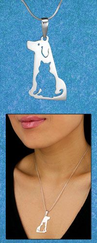 Peruvian Sterling Cat & Dog Necklace at The Animal Rescue Site  I love this with both animals!!!