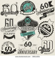 Vintage style 60th anniversary collection. Sixty anniversary design in retro style. Vintage labels for anniversary greeting. Hand lettering style typographic and calligraphic anniversary symbols - stock vector