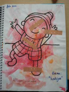 Plak een pleister op Puk zijn: neus, hand, buik en voet.