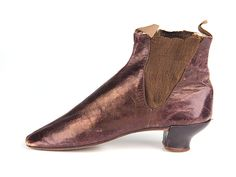 Boots, 1840 - 1870, British, ladies brown glacé leather ankle boots with elasticated sides and curved heels. A nice example of elastic used mid 19th C. Shoe Icons