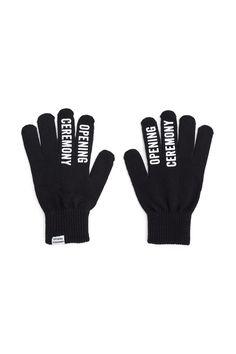 Opening Ceremony Logo, OC Logo Gloves , Unisex, Gel logo print, Logo tag at cuff, Ribbed cuffs, 100% acrylic, Imported