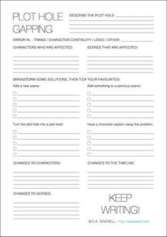 Writing Worksheet – Fixing Plot Holes (PDF) Plot holes are almost inevitable at some stage in any piece of longer writing, and in my experience, fixing them can