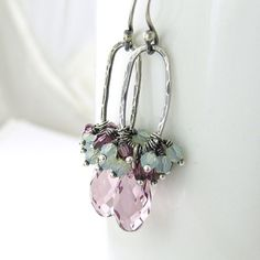 Amethyst Earrings Chrysolite Opal Earrings Swarovski Crystal Jewelry February Birthstone Sterling Silver Fashion Jewelry, Beth No. 20 on Etsy, $64.00