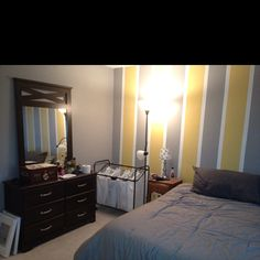 Painted my bedroom walls gray and yellow. :)