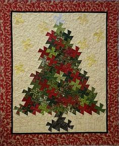 Christmas Tree Pinwheel Twist  pattern - using Lil' Twister ruler