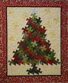 Christmas Tree Pinwheel Twist  pattern - using Lil' Twister ruler