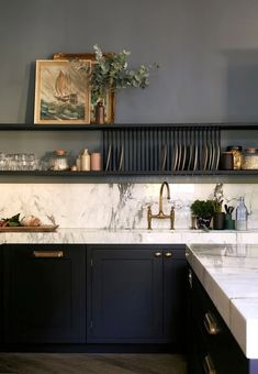 Tips for painted cabinets from Farrow & Ball - Cabinets are Railings and walls are De Nimes // Centered by Design Kitchen Interior, New Kitchen, Kitchen Decor, Kitchen Ideas, Kitchen Storage, Kitchen Size, Smart Kitchen, Stylish Kitchen, Kitchen Planning