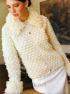 Вязаная спицами куртка с вытянутыми петлями, схема вязания, описание....