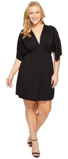 Rachel Pally Plus Size Mini Caftan Dress (Black) Women's Dress - Rachel Pally, Plus Size Mini Caftan Dress, ESS8995W-001, Apparel Top Dress, Dress, Top, Apparel, Clothes Clothing, Gift, - Street Fashion And Style Ideas
