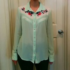 Embroidery flower button up blouse NWOT/polyester fabric in translucent light green English Rose Tops Button Down Shirts