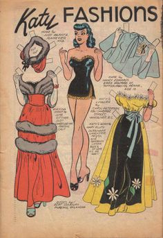 Katy Keene paper doll, old fashioned outfits / eBay